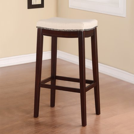 Nail Head Backless Bar Stool Upholstered Seat - Beige/Walnut - Linon