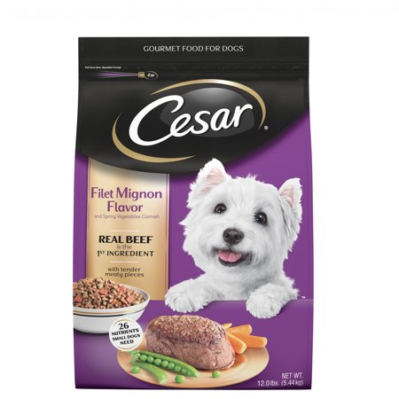 Cesar Small Breed Dry Dog Food Filet Mignon Flavor with Spring Vegetables Garnish, 12 lb. (Best Dry Dog Food For Small Dogs 2019)