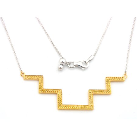Step Style 0.30Ct Round Yellow Diamond Designer 18 inches Necklace Crafted in 925 Sterling Silver - Prism Jewel ()