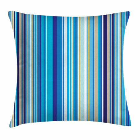 - Blue Throw Pillow Cushion Cover, Vertical Stripes Repeating Retro Revival Pattern Funky Abstract Composition, Decorative Square Accent Pillow Case, 16 X 16 Inches, Mustard Blue White, by Ambesonne