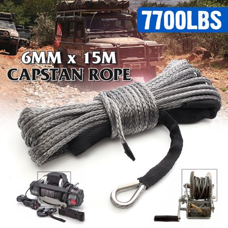 50 FT 7700LBs Gray Nylon Rope Pulling Line Synthetic Winch Line Cable Rope with Sheath ATV UTV