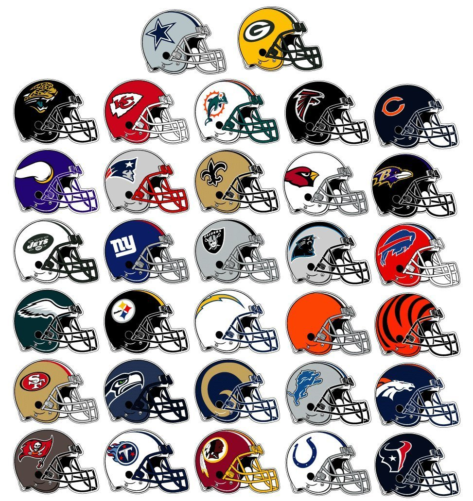 Nfl football helmet stickers 32 count full set