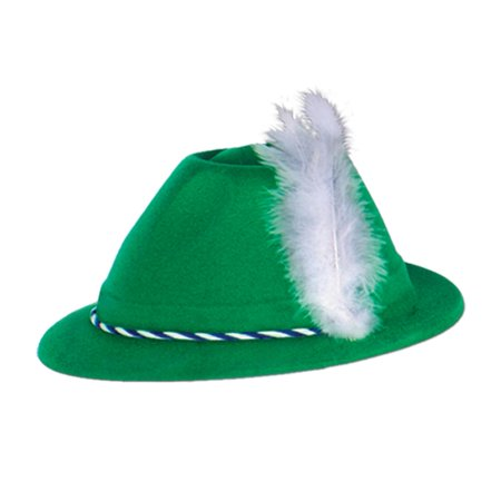 Club Pack of 24 Green Velour Tyrolean Hat Party Accessories - Velour Hat