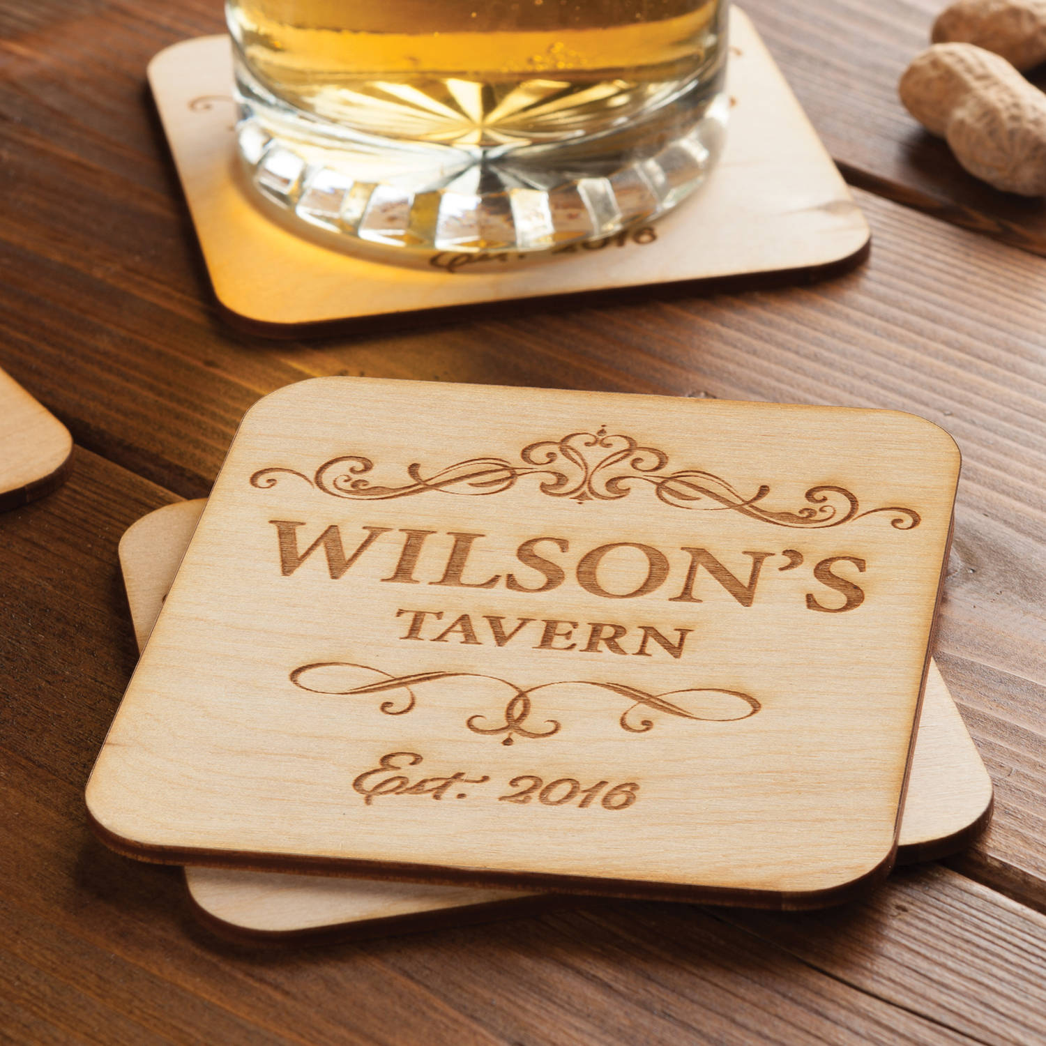 Set of 4 Personalized Wood Coasters