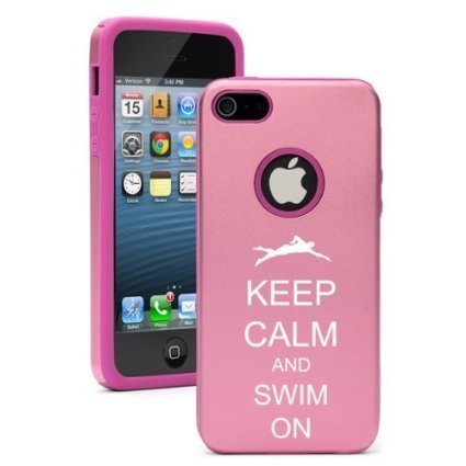 Apple iPhone 6 Plus / 6s Plus Shockproof AS Aluminum & Silicone Hard Soft Case Cover Keep Calm and Swim On (Pink),Daylor