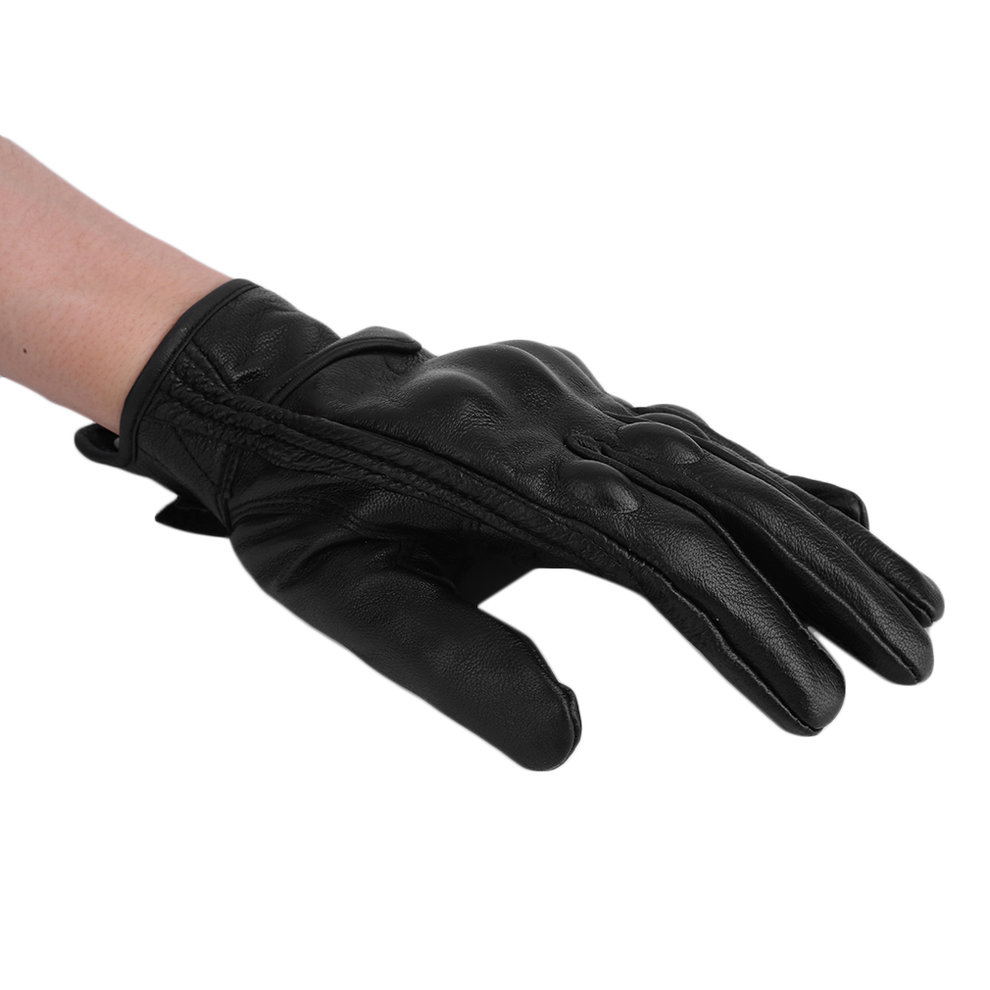 Non-Perforated Leather Full Finger Motorcycle Gloves Motorbike Moto Racing Windproof Protecting Gloves Black