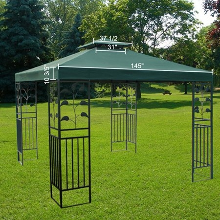 large green 12x12 foot square polyester garden canopy gazebo replacement top double tier waterproof uv protection - Patio Sun Shades
