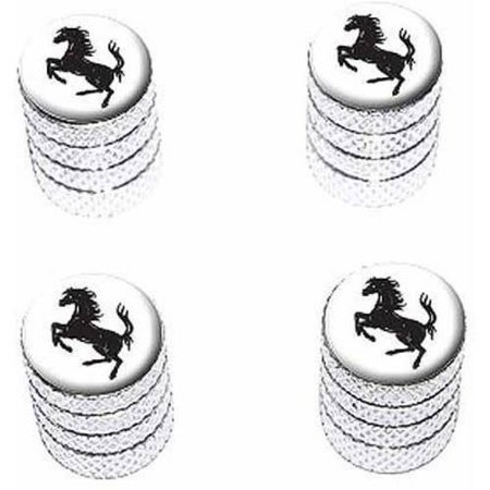 Horse Rearing Up on White Tire Rim Wheel Aluminum Valve Stem Caps, Multiple Colors](Light Up Tire Caps)