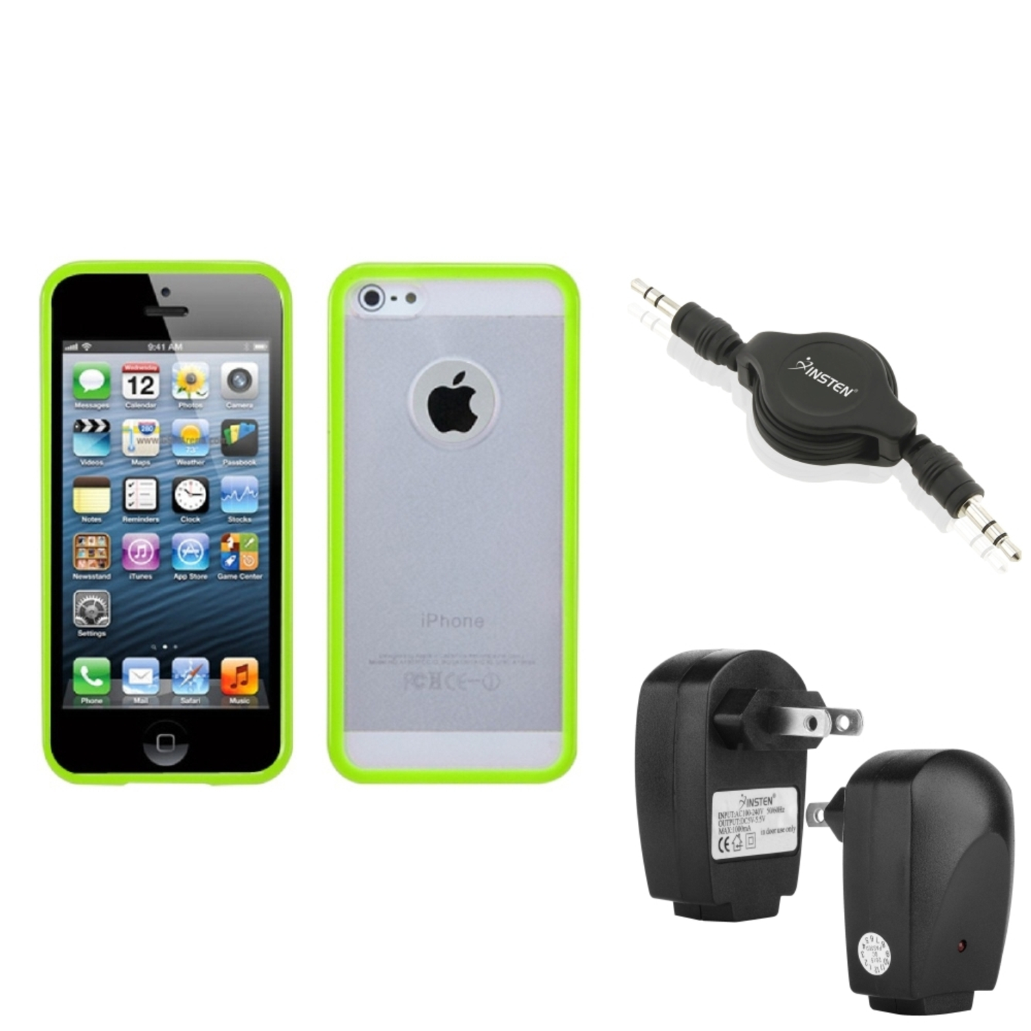 Insten Wall Charger+Audio Cable+Green CLEAR GUMMY TPU SOFT TRIM CASE FOR iPHONE 5 G