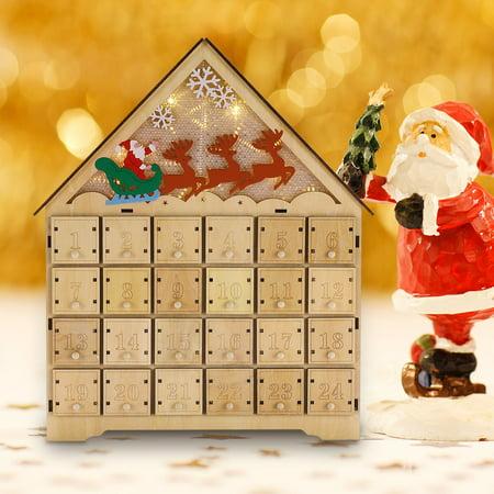 Wooden LED Lighted Santa Sleigh Reindeer Snowflakes Christmas Countdown Advent Calendar ()