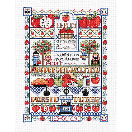 "Apple Sampler Counted Cross Stitch Kit, 12"" x 16"", 14-Count"