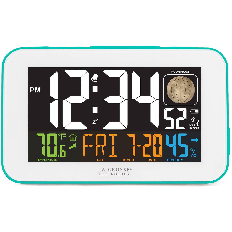 La Crosse Technology 617-1485BL LED Color Alarm Clock with USB Charging Port, Blue