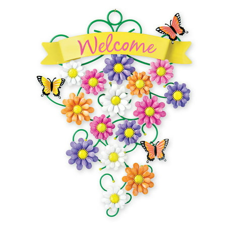 Colorful Welcome Spring Metal Front Door Decoration
