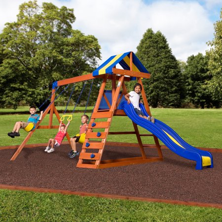 Backyard Discovery Dayton Cedar Wooden Swing - Playhouse Swing Sets