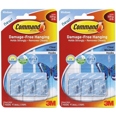 3PK Window Hook, (2 Pack)-Command Clear Window Hooks. 2 Pack: of 3 hooks, 4 small strips, each. By