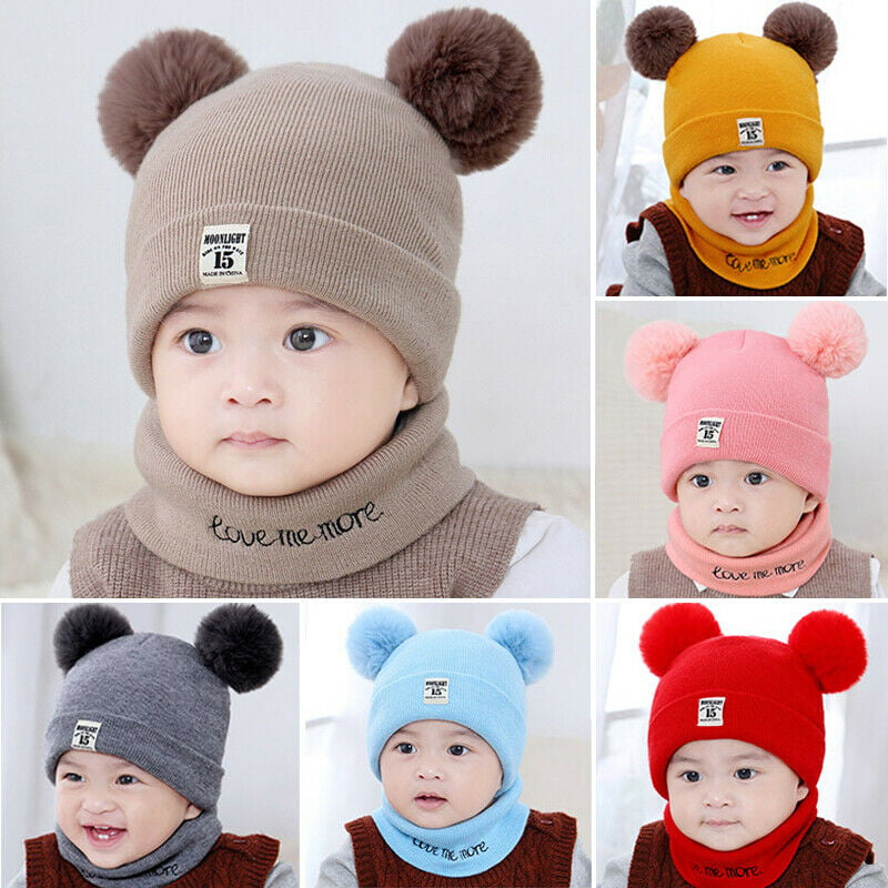 Baby Boy Hat and Mitten Set Knot Baby Beanie for Boys Newborn Hat Winter Infant Caps