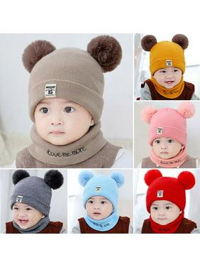 SUNSIOM Newborn Kids Baby Boy Girl Pom Hat Winter Warm Knit Bobble Beanie Cap Scarf Set