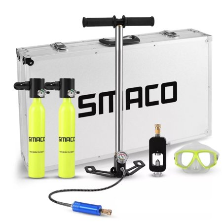 SMACO Oxygen Cylinder Mini Scuba Oxygen Reserve Air Tank Diving Equipment Set with Aluminum Box