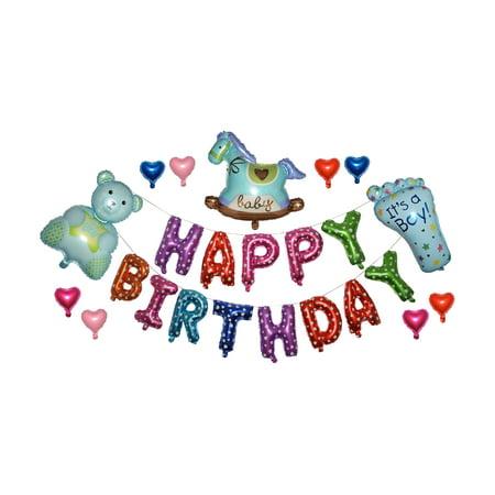 Happy Birthday Newborn Baby Boy Baby Shower or First Birthday Party 14 inch Balloon Decorations (Baby Boy Birthday Decorations)