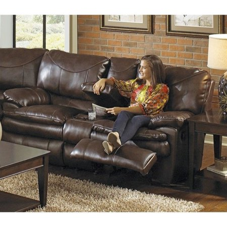 Catnapper Perez Power Reclining Console Leather Loveseat