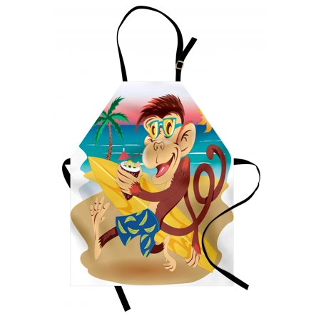 Tropical Animals Apron Hipster Monkey with Surfboard and Glasses Drinking on Beach in Sunny Day Kids, Unisex Kitchen Bib Apron with Adjustable Neck for Cooking Baking Gardening, Multi, by - Multi Colored Drinking Glasses