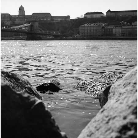 Nature Sparkling Danube Water Rocks River Poster Print 24 x 36