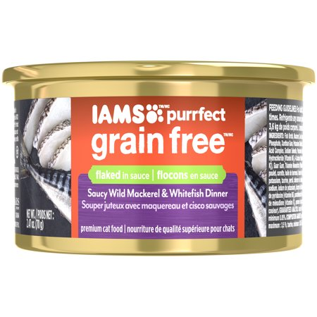 (Iams PURRFECT Grain Free Saucy Wild Mackerel and Whitefish Dinner Canned Cat Food, 2.47 oz. (Pack of 24))