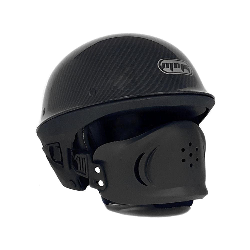 Motorcycle Street Half Helmet DOT Approved with Adjustable Muzzle - VADER LARGE (Carbon Fiber)
