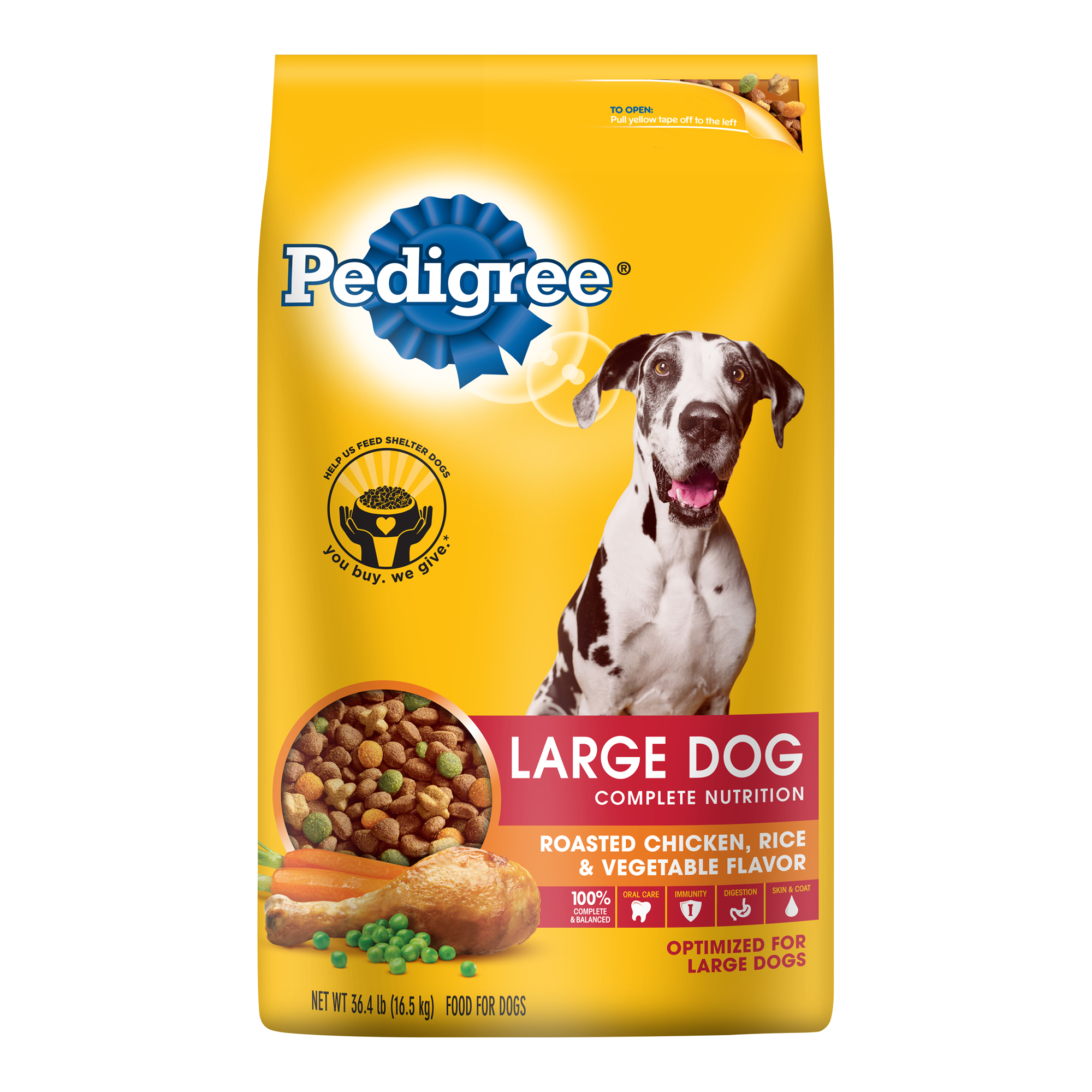 PEDIGREE Adult Large Breed Roasted Chicken, Rice & Vegetable Dry Dog Food 36.4 Pounds