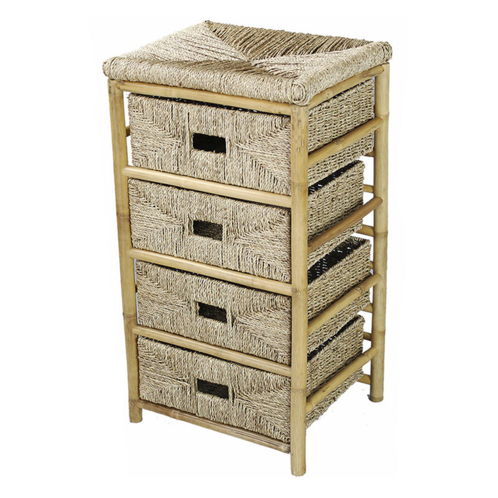 Heather Ann Creations Kaleo 4 Drawer Bamboo And Seagr Open Frame Storage Cabinet