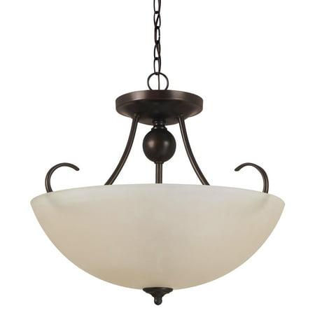 Sea Gull Lighting Lemont 3-Light Semi-Flush Convertible Pendant - 16.5W in. Burnt Sienna
