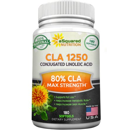 Asquared Nutrition Cla Safflower Oil Supplement  180 Softgel Capsules    Pure Conjugated Linoleic Acid Weight Loss Diet Pills  Natural Cla 1250Mg Plant Derived Seed Complex For Men   Women