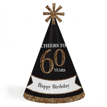 Adult Birthday Hats (Adult 60th Birthday - Gold - Cone Birthday Party Hats for Kids and Adults - Set of 8 (Standard)