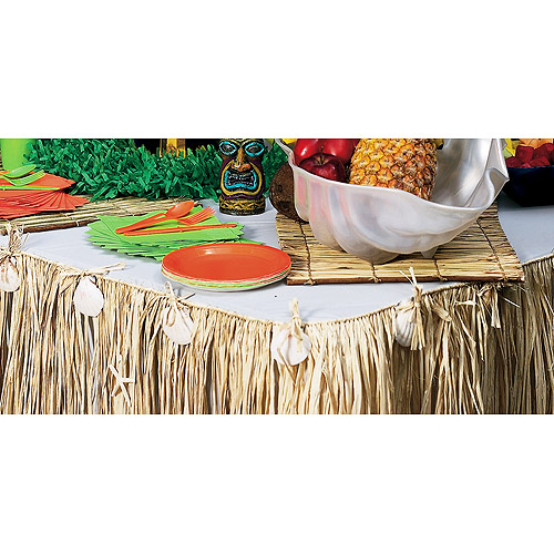 Raffia and Seashell Table Skirt