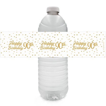 90th Birthday Water Bottle Labels 24 Ct