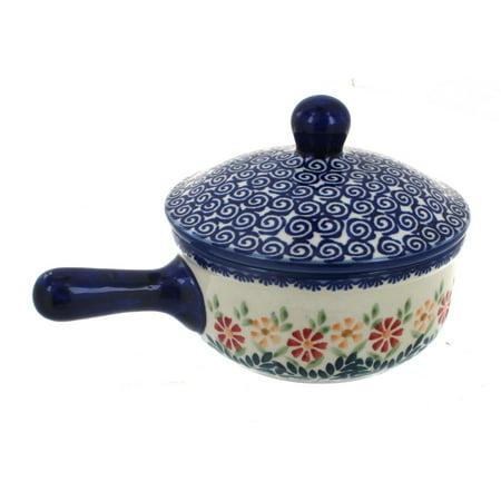 Polish Pottery Garden Bouquet Sauce Pot with Lid ()