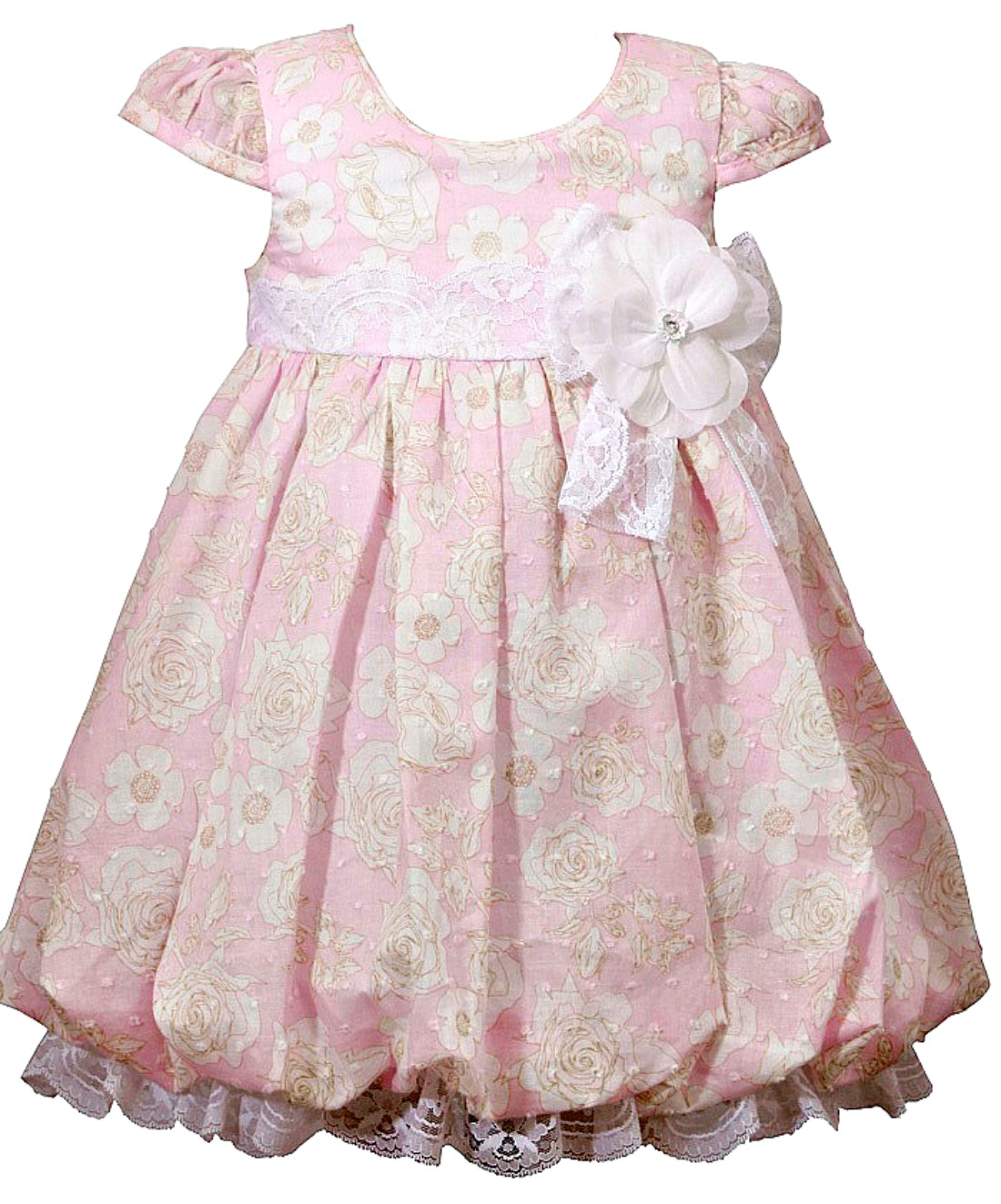 Bonnie Jean Baby Girls Pink Floral Vintage Inspired Dress 12 months