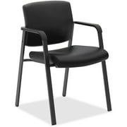 basyx VL605 Guest Reception Waiting Room Chair, Black Leather, with Arms, Metal Base