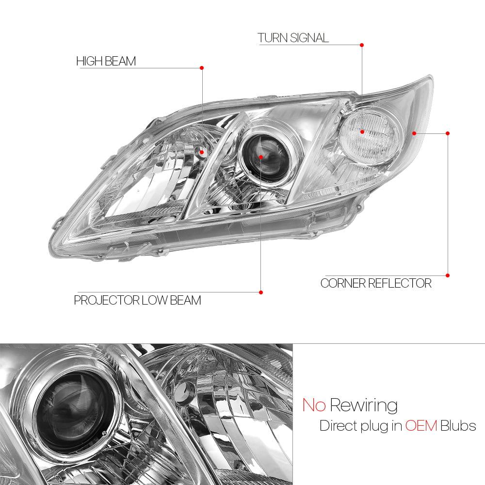 Chrome Projector Headlight Clear Corner Turn Signal for 07-09 Toyota Camry XV40