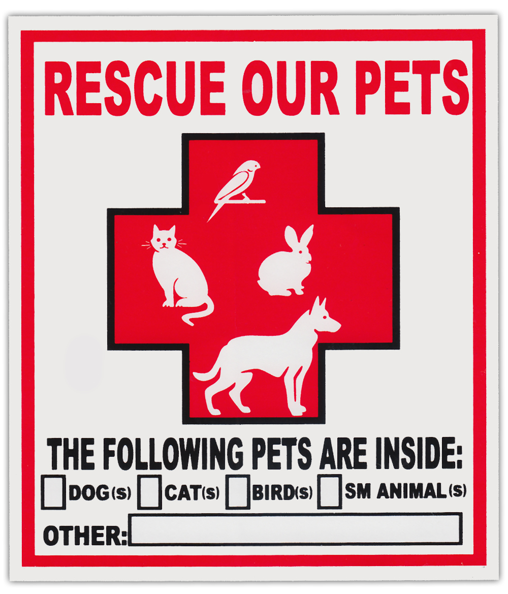 2 pack pet rescue window stickers decals alert to fire department dogs cats