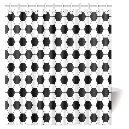 MYPOP Sports Decor Shower Curtain, Black and White Soccer Ball Pattern Athletic Sport Themed Geometric Modern Artistic Design Shower Curtain Set with Hooks, 66 X 72 Inches