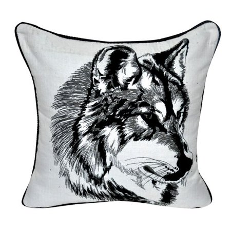 Loom and Mill Animal Heads Wolf Throw Pillow