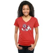 Fresno State Bulldogs Women's Classic Primary Tri-Blend V-Neck T-Shirt - Red