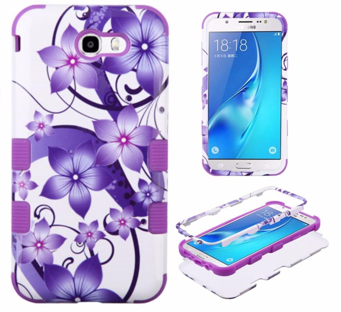 [World Acc] For Samsung Galaxy Halo / Galaxy J7 Prime / Galaxy J7 J727 / Galaxy J7 Perx / Galaxy J7 Sky Pro / Galaxy J7V J7 V Case Tuff Armor Hybrid Phone Cover (Purple Hibiscus Flower/Purple)