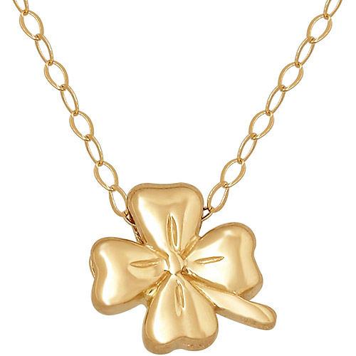 """Simply Gold 14kt Yellow Gold Teeny Tiny Clover Pendant, 17"""""""