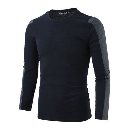 Unique Bargains Men's Long Sleeves PU Leather Panel Round Neck Ribbed Tee (Hoodie With Leather)