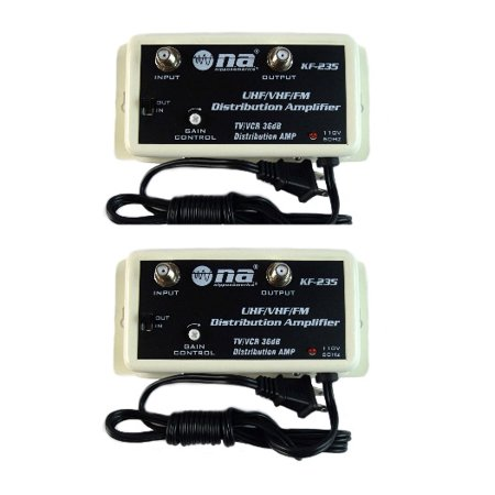2 Pack 36 DB Cable Antenna Color TV Booster Signal Amplifier VHF UHF FM