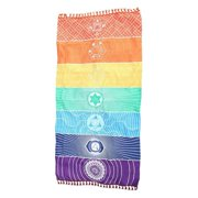 Meditation Yoga Rug Towels Mexico Chakras Tassel Striped Floor Mat Colorful