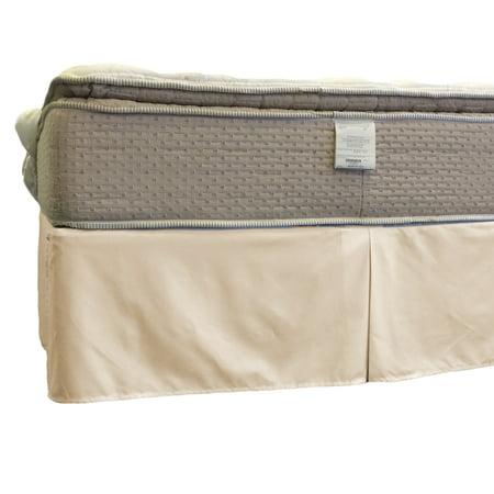 Bed Skirt Wrinkle Free Cotton Blend 650 Thread Count, Split Corner, 15-Inch Tailored Drop Pleated Dust Ruffle- King - (Split Cotton Blend)