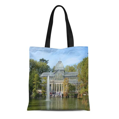 SIDONKU Canvas Tote Bag Retiro Crystal Palace Madrid Park Spain Travel Architecture Europe Reusable Handbag Shoulder Grocery Shopping Bags